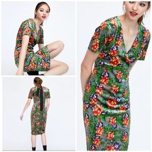 Zara Velvet Floral Midi Dress
